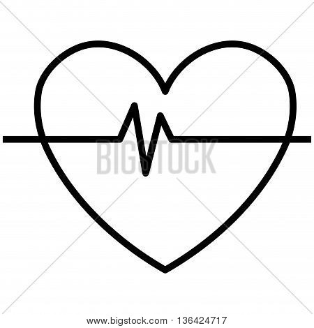 black and white heart design with heart beats icon over isolated background, vector illustration