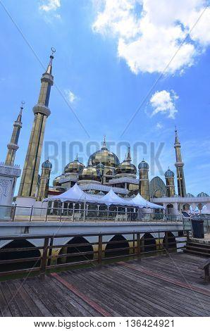 Crystal Mosque in Kuala Terengganu Terengganu Malaysia with blue sky backgroud
