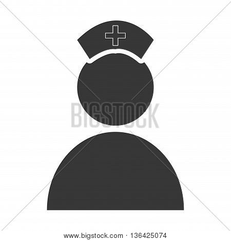 black and white avatar nurse front view over isolated background, vector illustration