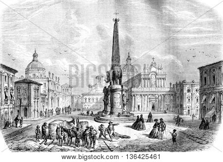 The Fountain of the Elephant, Catania, vintage engraved illustration. Magasin Pittoresque 1861.