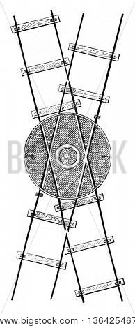 Hubs for two forward channels, vintage engraved illustration. Magasin Pittoresque 1861.