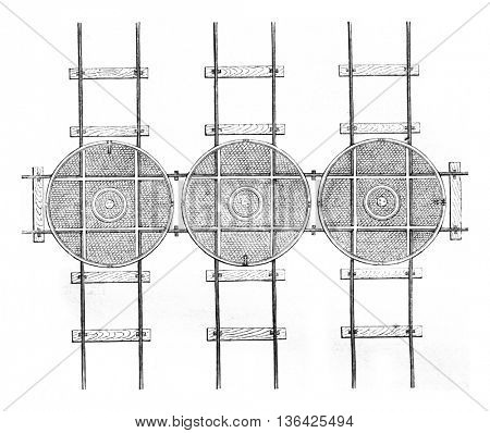 Hubs three parallel tracks and a perpendicular, vintage engraved illustration. Magasin Pittoresque 1861.