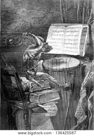Painting Salon 1861, Chamber music, by Mr. Ph. Rousseau, vintage engraved illustration. Magasin Pittoresque 1861.