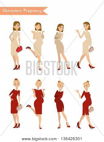 pregnant woman in different poses Vector illustration in cartoon style a pregnant woman waiting for a child