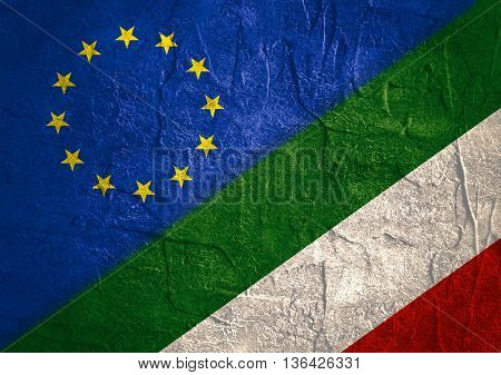 Image relative to politic relationships between European Union and Hungary. National flags textured by concrete
