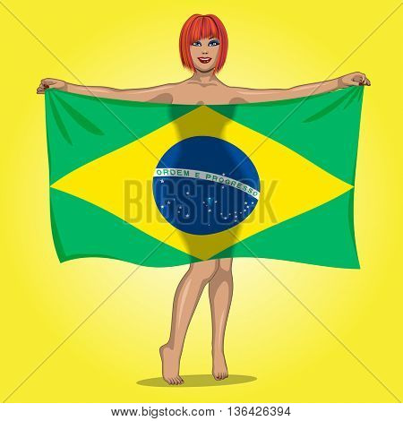 sexy girl behind the flag of Brasil. Brasilian girl. Sport fan girl with Brasil flag.