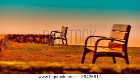 Bench In A Privileged Place , With Intense Colors