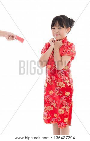 Happy chinese new year concept . smiling asian little girls recives red envelope from her mother on white background isolated