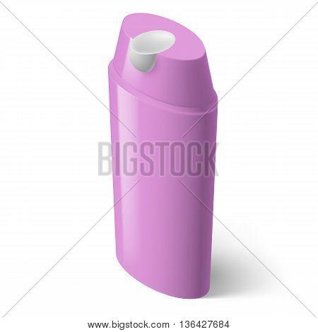Single Magenta Isometric Bottle of Shampoo on White