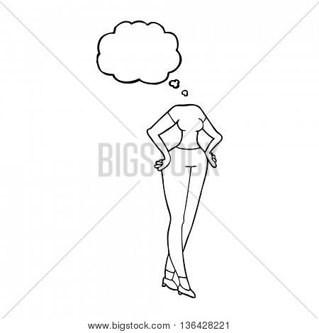 freehand drawn thought bubble cartoon headless body (add own photographs)