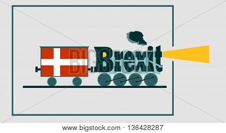 Denmark leave the European Union relative image. Steam train as brexit word