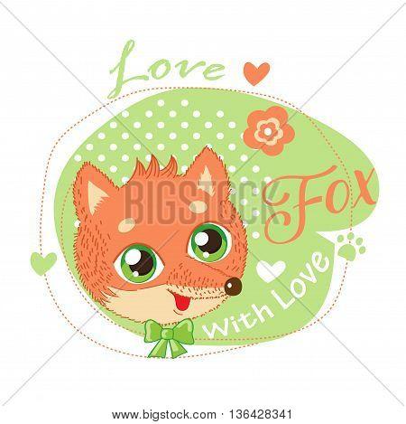 Cute Little Fox In Green Background Vector Illustration. Love Fox Cartoon Vector. T-Shirt Design Vector Illustration With Fox. Cute Fox Shirt.
