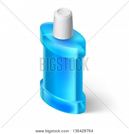 Blue Isometric Bottle of Mouthwash. Illustration on White Background