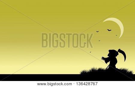 Silhouette of warlock and bat halloween illustration