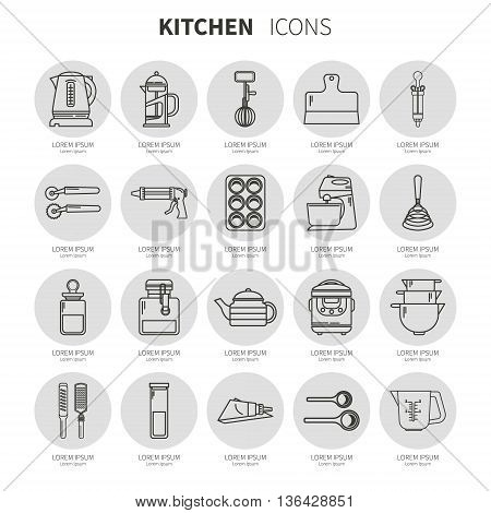 Set of kitchen utensils and items for baking. Cookware. Icons in a linear style. Kitchenware. Icons on the substrate