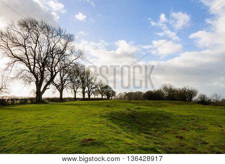 Rural landscape in winter in England, UK
