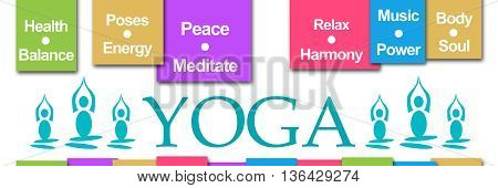 Yoga concept image with text and wordcloud.