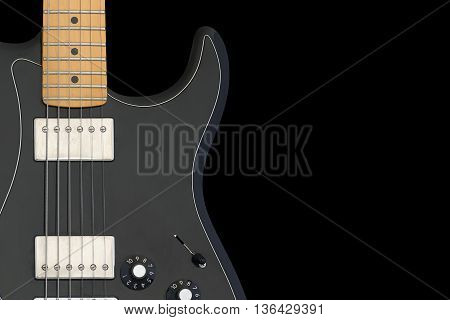 Electric guitar body isolated on black background.