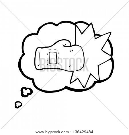 freehand drawn thought bubble cartoon boxing glove