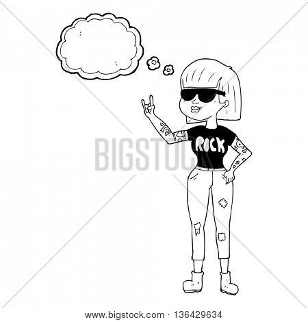 freehand drawn thought bubble cartoon rock woman