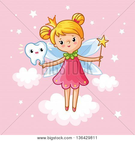 The little girl princess with a magic wand and tooth among the clouds on a pink background. Vector illustration on the theme of children. Tooth Fairy in the clouds. Magic.