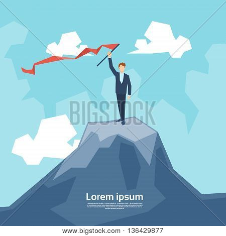 Business Man On Mountain Peak With Flag Success Concept Flat Vector Illustration