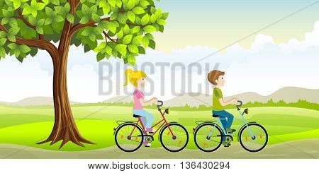 Two people ride a bike through the countryside