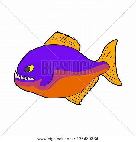 Piranha icon in cartoon style on a white background