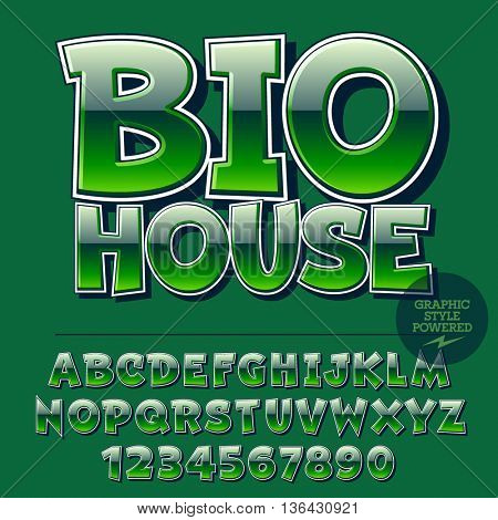 Glossy set of alphabet letters, numbers and punctuation symbols. Reflective vector icon with text Bio House