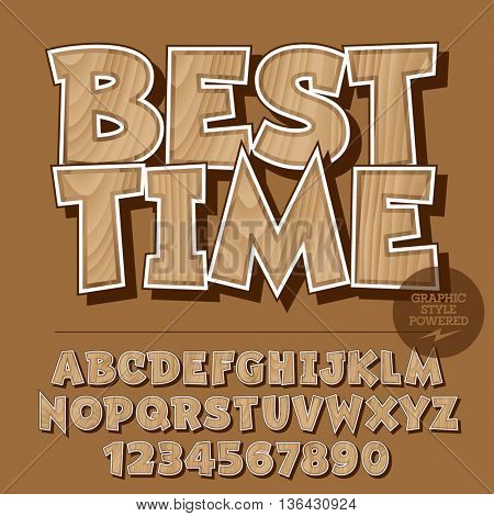 Vector set of alphabet letters, numbers and punctuation symbols. Wooden banner with text Best time