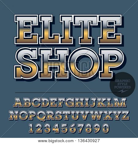 Glossy set of alphabet letters, numbers and punctuation symbols. Reflective vector logo with text Elite Shop