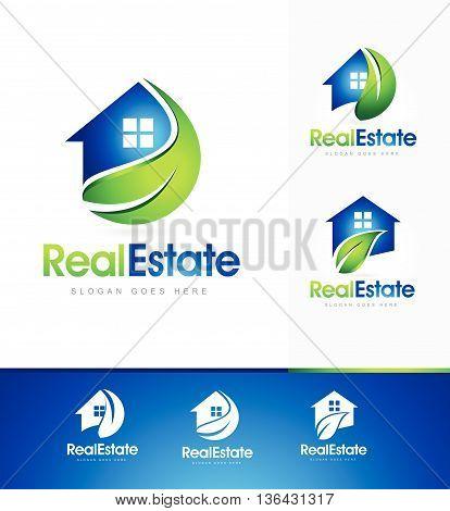 Real Estate Logo Design. Creative real estate house icon logo with green leaf design.