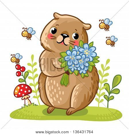 Vector illustration of a gopher and bees. Gopher in a meadow with flowers in their hands. Cute rodent near the fly agaric.