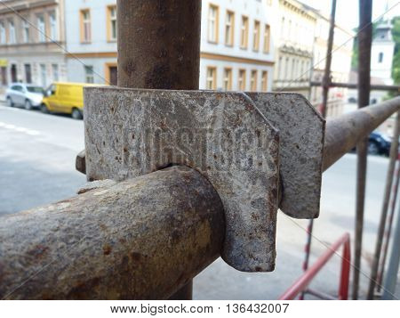 Detail Of A Joint On A Rusty Scaffolding