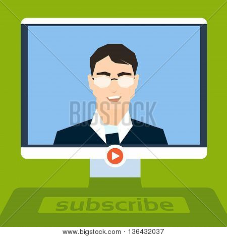 Businessman Blogger Stream Video Blog, Desktop Computer Screen Business Man Online Communication Live View Flat Vector Illustration
