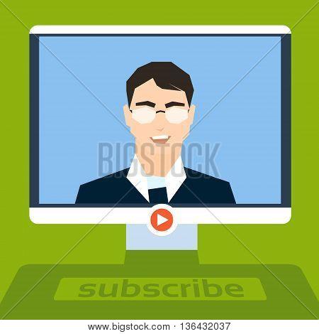 Businessman Blogger Stream Video Blog, Desktop Computer Screen Business Man Online Communication Live View Flat Vector Illustration