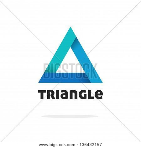 Triangle logo vector isolated on white background, blue gradient abstract triangle logotype element with shadow on corners, strict creative geometric figure