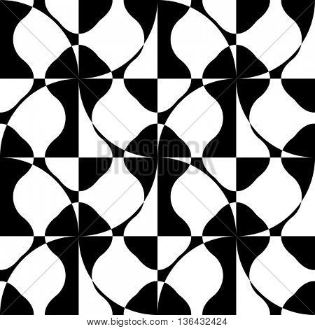 Seamless Curved Shape Pattern. Vector Monochrome Texture