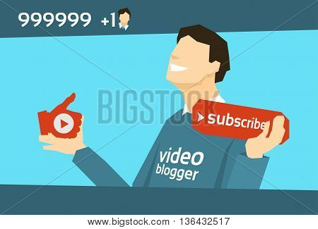 Popular Video Blogger With Like Subscribe Flat Vector Illustration