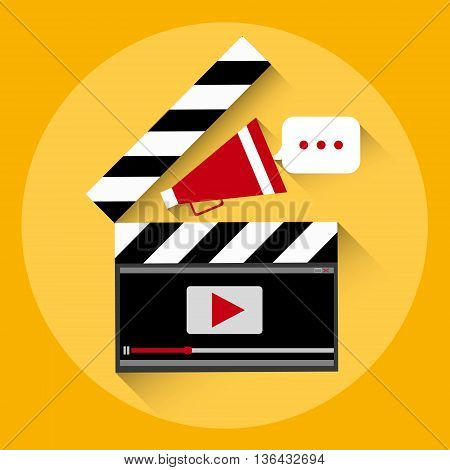Clapper Video Player Online Streaming Concept Flat Vector Illustration