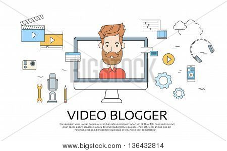 Man Blogger Video Computer Blogging Concept Flat Vector Illustration