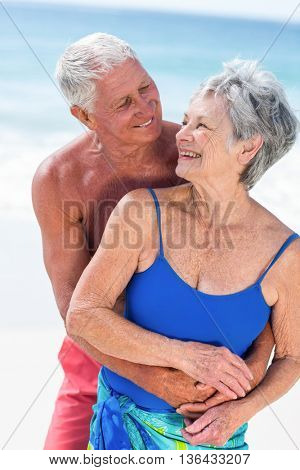 Cute mature couple embracing on the beach on a sunny day