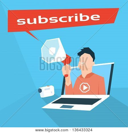 Man Blogger Hold Megaphone Subscribe Video Blog Laptop Computer Screen Vector Illustration
