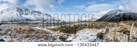 Winter panorama of mountains on Lofoten Islands Norway