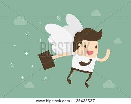 Angel investor. Business angel. Flat design business concept illustration.