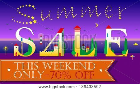 Summer Sale Inscription. This weekend only. Seventy percents. Cute white houses Font. Stars in the sky. Orange banner