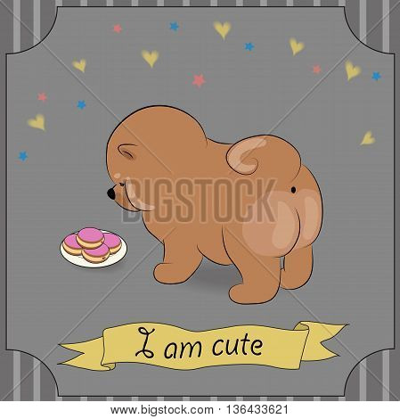 Cute puppy with donuts. Brown dog Chow-chow. Hungry pet looking at plate of pink donuts. Vintage greeting card. Colorful stars and hearts. Gray background. Striped frame. Yellow banner. I am cute inscription. Illustration.
