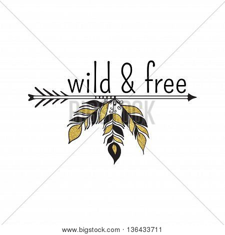 Vector illustration of boho logo. Bohemian logo with feathers and arrow. Black and gold color. Isolated on white background. Hand drawn.