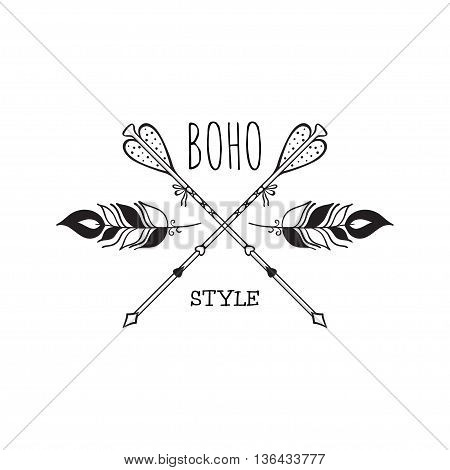 Vector illustration of boho logo. Bohemian logo with feathers and arrows. Isolated on white background. Hand drawn.