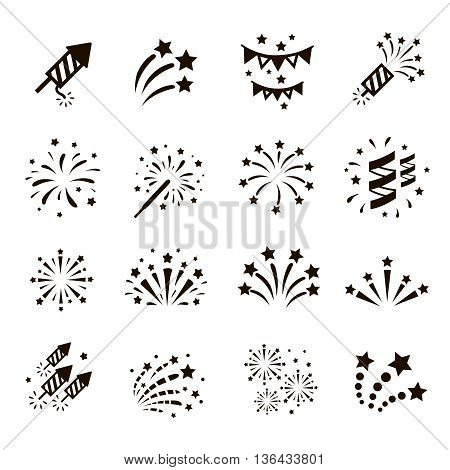 Firework icon set with petard, stars. Festival and event, celebrate and party.
